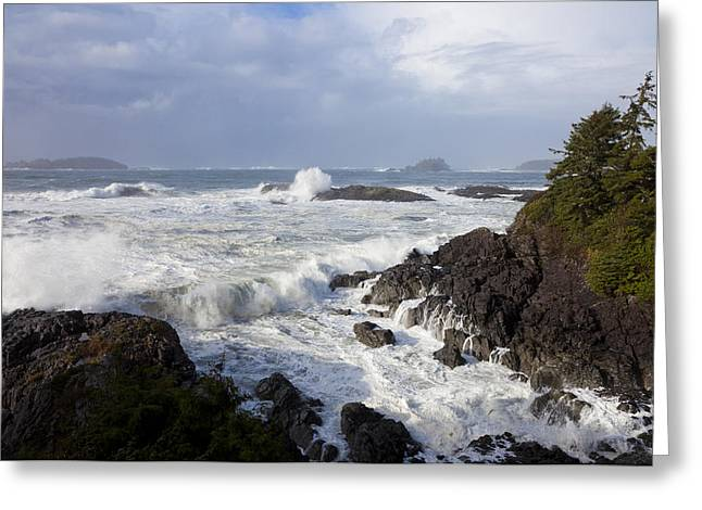Rocky Coastline Greeting Cards - A Stormy Morning On The Wild West Coast Greeting Card by Taylor S. Kennedy