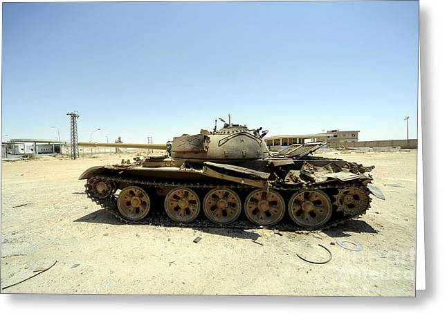 Liberation Greeting Cards - A T-55 Tank Destroyed By Nato Forces Greeting Card by Andrew Chittock