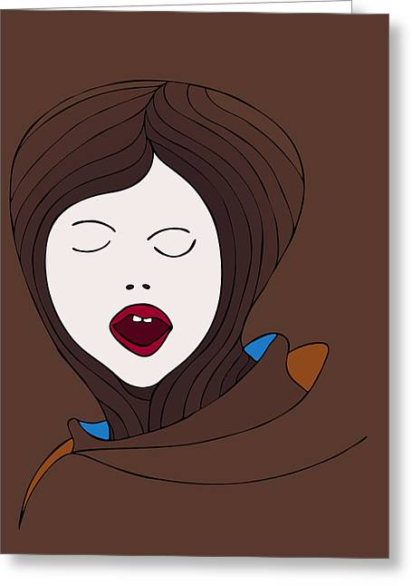 Depression Drawings Greeting Cards - A Woman Greeting Card by Frank Tschakert
