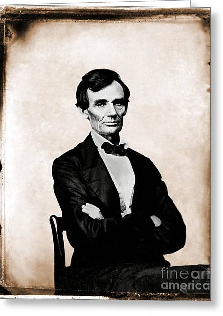 Slavery Greeting Cards - Abraham Lincoln, 16th American President Greeting Card by Photo Researchers