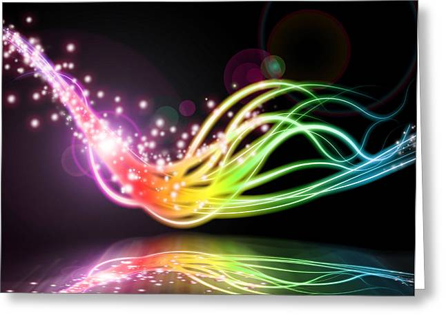 Abstract Lighting Effect  Greeting Card by Setsiri Silapasuwanchai