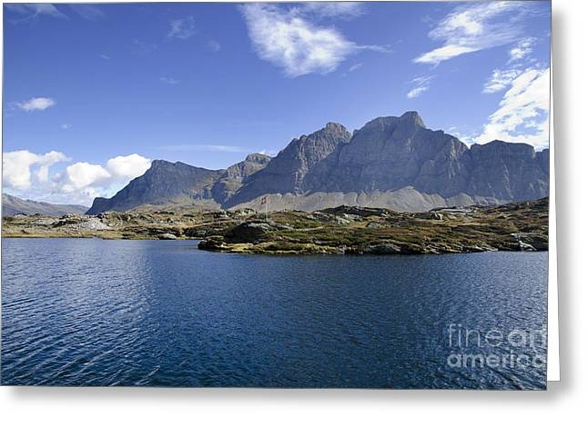 Swiss Flag Greeting Cards - Alpine lake Greeting Card by Mats Silvan