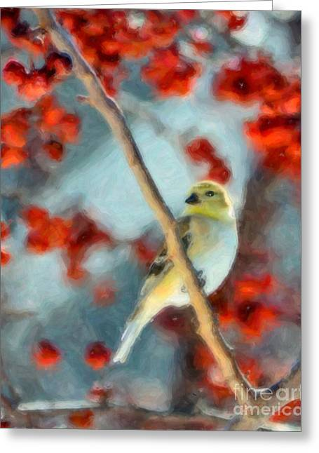 Watercolor Photographs Greeting Cards - American Goldfinch Greeting Card by Betty LaRue