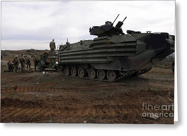 Tank Battalions Greeting Cards - An Amphibious Assault Vehicle Greeting Card by Stocktrek Images
