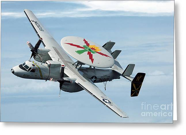 Military Airplanes Greeting Cards - An E-2c Hawkeye In Flight Greeting Card by Stocktrek Images