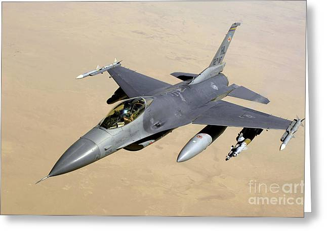 Aim High Greeting Cards - An F-16 Fighting Falcon In Flight Greeting Card by Stocktrek Images