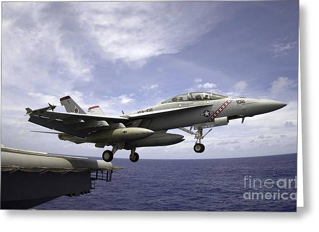 F-18 Greeting Cards - An Fa-18f Super Hornet Launches Greeting Card by Stocktrek Images
