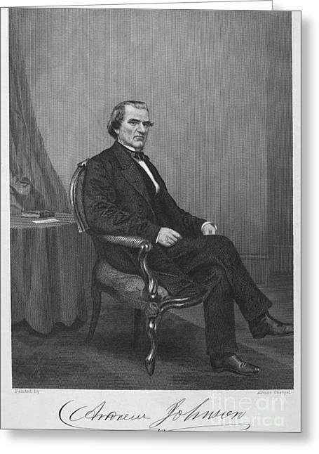 Autograph Greeting Cards - Andrew Johnson (1808-1875) Greeting Card by Granger