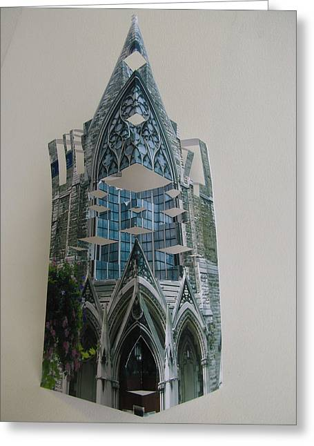 Pittsburgh Sculptures Greeting Cards - Architecture Reconstruction Greeting Card by Alfred Ng