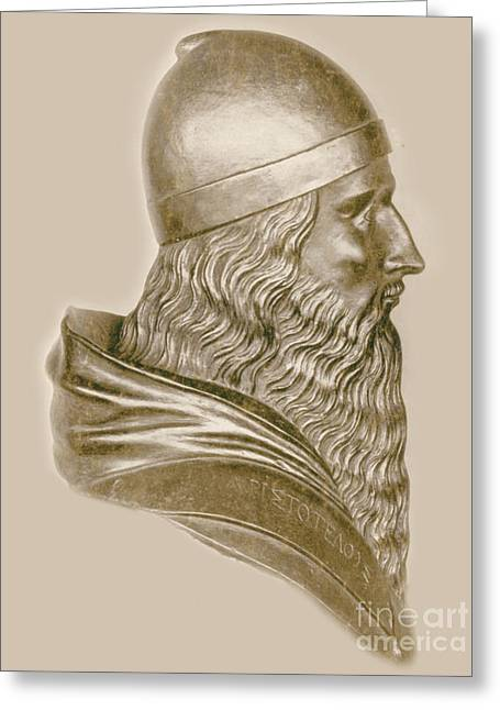 Greek Sculpture Greeting Cards - Aristotle, Ancient Greek Philosopher Greeting Card by Science Source