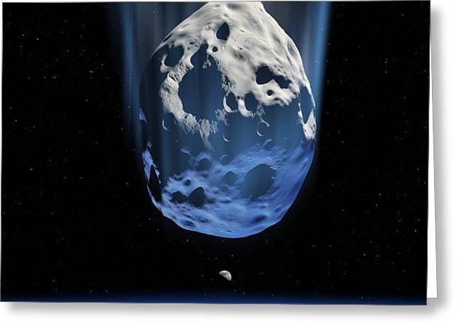 Asteroid Approaching Earth, Artwork Greeting Card by Detlev Van Ravenswaay