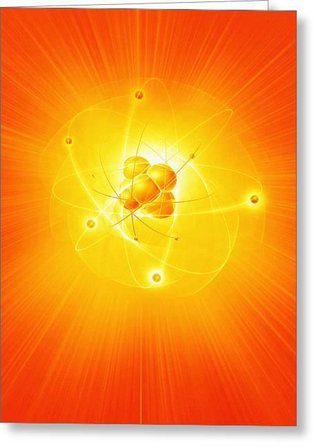 Neutron Greeting Cards - Atom, Artwork Greeting Card by Mehau Kulyk