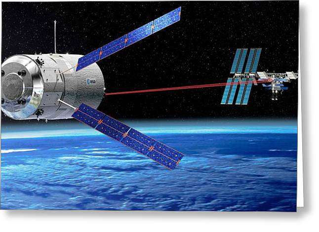 Automated Transfer Vehicles Greeting Cards - Atv Approaching The Iss, Artwork Greeting Card by David Ducros