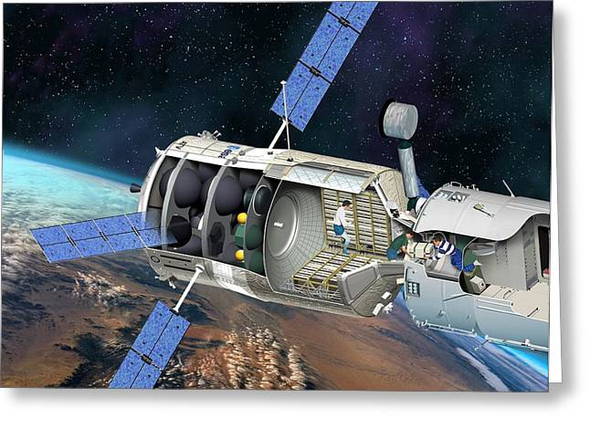 Resupply Greeting Cards - Atv Docked To The Iss, Artwork Greeting Card by David Ducros