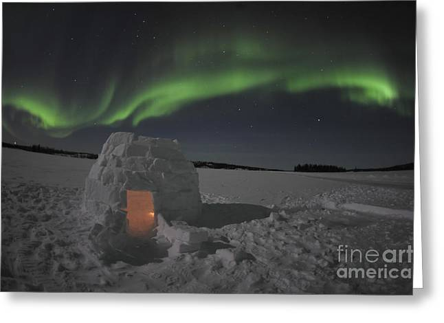 Snow-covered Landscape Photographs Greeting Cards - Aurora Borealis Over An Igloo On Walsh Greeting Card by Jiri Hermann