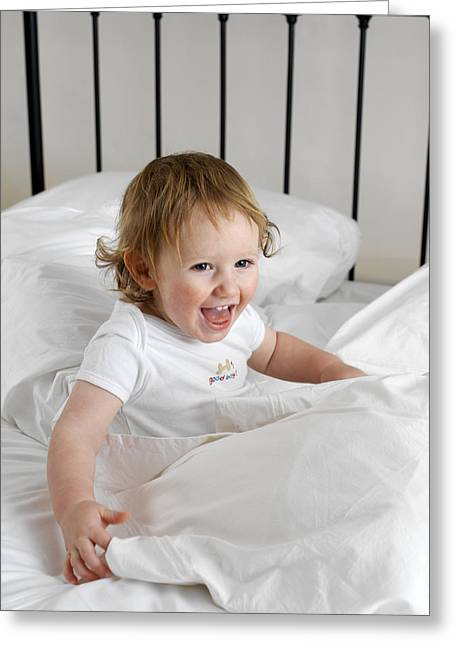 Child Care Greeting Cards - Baby Boy Playing Greeting Card by Tek Image