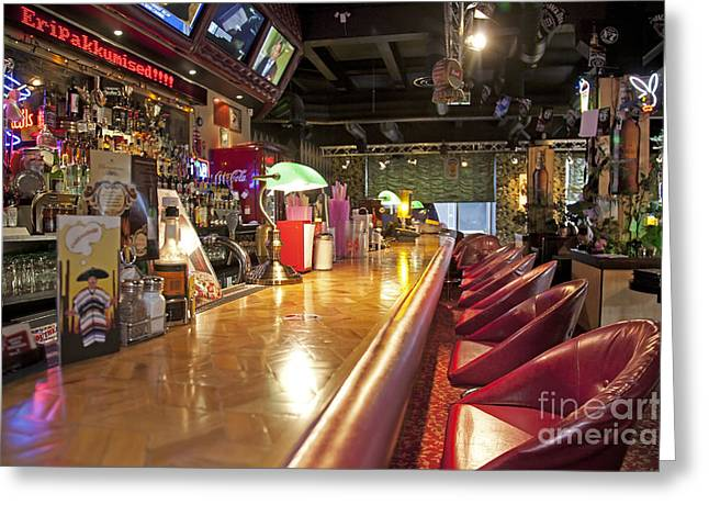 Barbeque Greeting Cards - Bar at an American Style Diner Greeting Card by Jaak Nilson