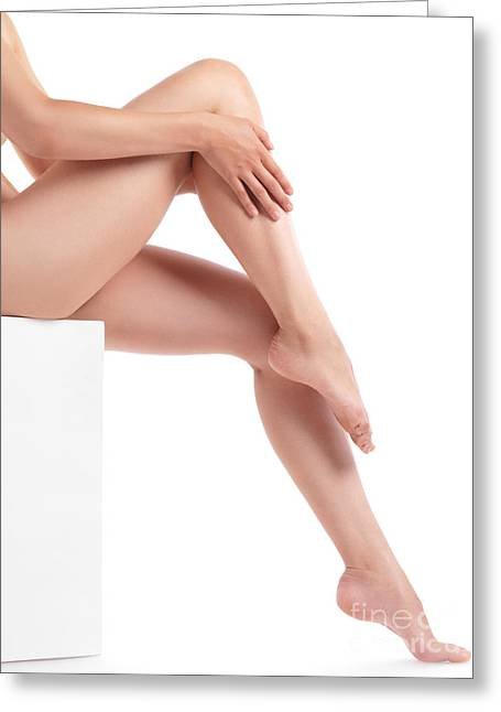 Thin Greeting Cards - Bare Woman Legs Greeting Card by Oleksiy Maksymenko
