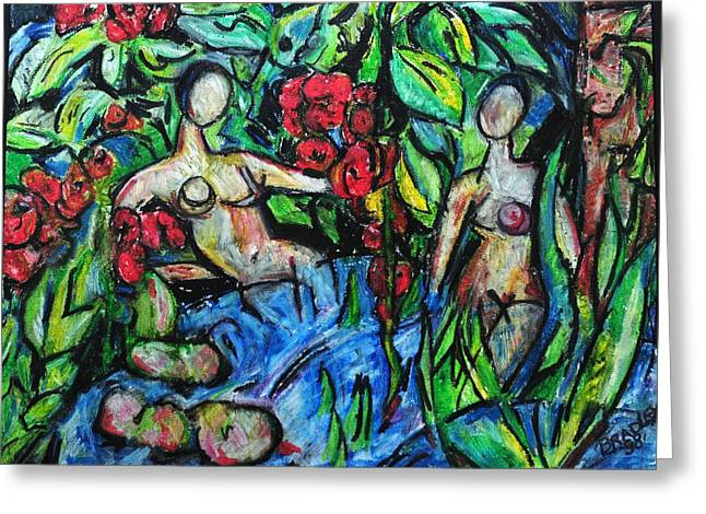 Canada Pastels Greeting Cards - Bathers 98 Greeting Card by Bradley