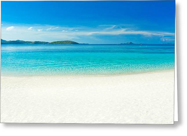 Sea. Morning Greeting Cards - Beach panorama Greeting Card by MotHaiBaPhoto Prints