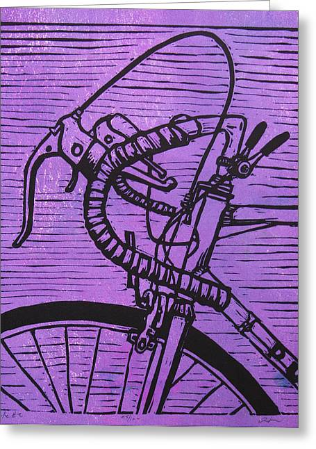 Linoluem Greeting Cards - Bike 2 Greeting Card by William Cauthern