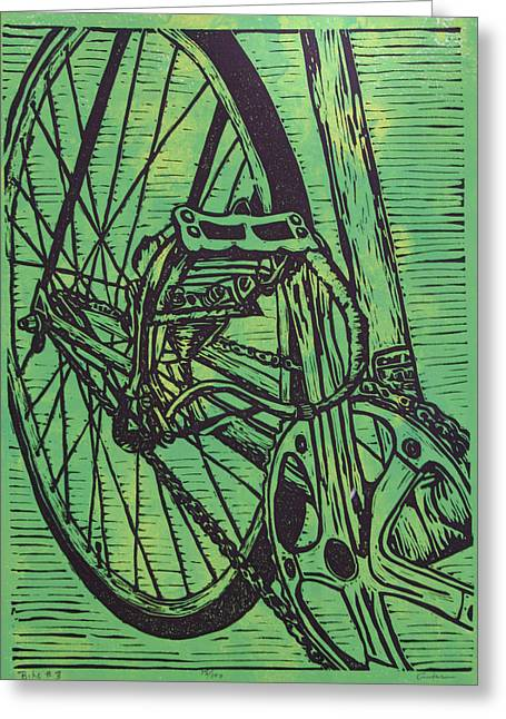 Linoluem Greeting Cards - Bike 3 Greeting Card by William Cauthern