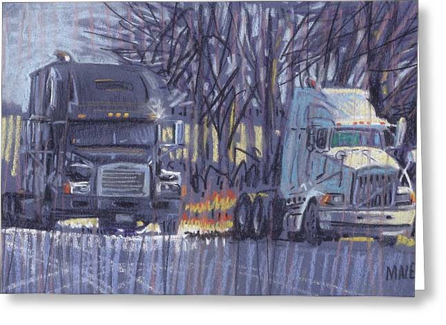 Truck Drawings Greeting Cards - Black and White Greeting Card by Donald Maier