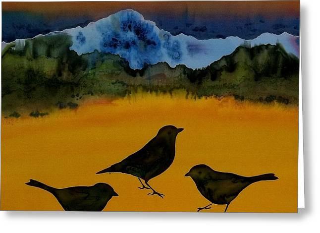 3 blackbirds Greeting Card by Carolyn Doe
