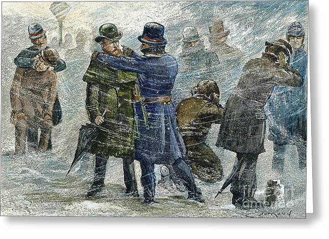 Blizzard Nyc Greeting Cards - Blizzard Of 1888, Nyc Greeting Card by Granger