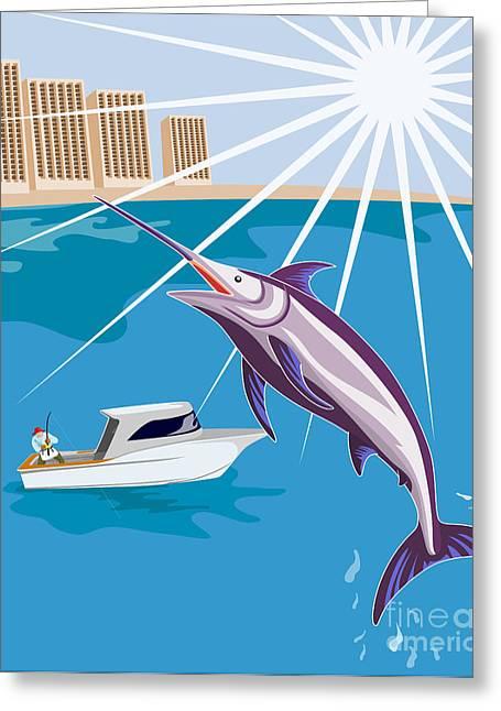 Swordfish Greeting Cards - Blue Marlin Fish Jumping Retro Greeting Card by Aloysius Patrimonio