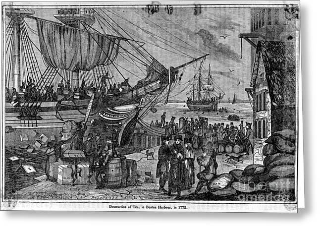 Wells Harbor Greeting Cards - Boston Tea Party, 1773 Greeting Card by Photo Researchers