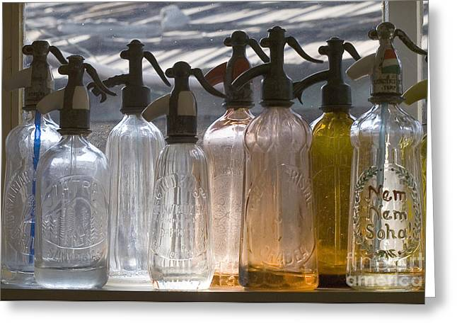 Healthy Glass Art Greeting Cards - Bottle of water   Greeting Card by Odon Czintos