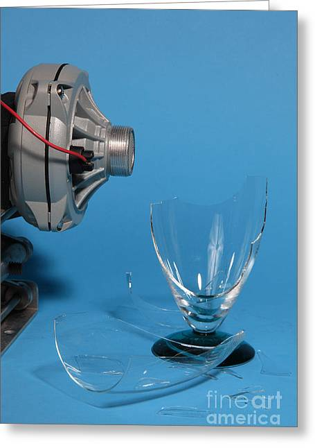 Resonator Greeting Cards - Breaking Glass With Sound Greeting Card by Ted Kinsman