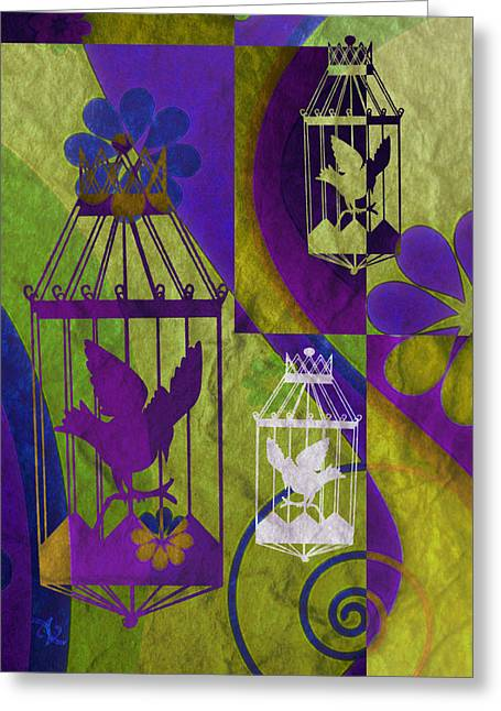 Found-object Greeting Cards - 3 Caged Birds Greeting Card by Angelina Vick