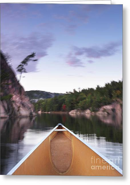 Canoe Greeting Cards - Canoeing in Ontario Provincial Park Greeting Card by Oleksiy Maksymenko