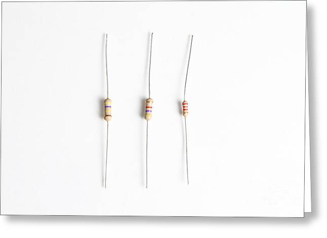 Electronic Resistance Greeting Cards - Carbon Film Resistors Greeting Card by Photo Researchers, Inc.