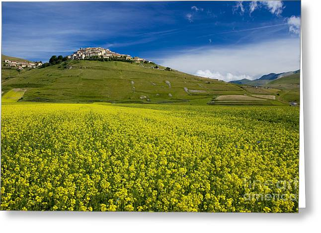 Medieval Village Greeting Cards - Castelluccio Umbria Greeting Card by Brian Jannsen