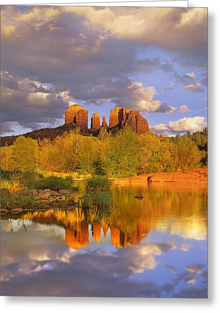 Red Rock Crossing Photographs Greeting Cards - Cathedral Rock Reflected In Oak Creek Greeting Card by Tim Fitzharris