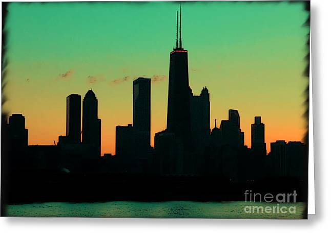 Boat Cruise Greeting Cards - Chicago Skyline Cartoon Greeting Card by Sophie Vigneault