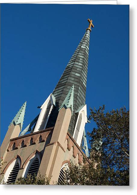 Spire Framed Prints Greeting Cards - Churches of Savannah Greeting Card by Leslie Lovell
