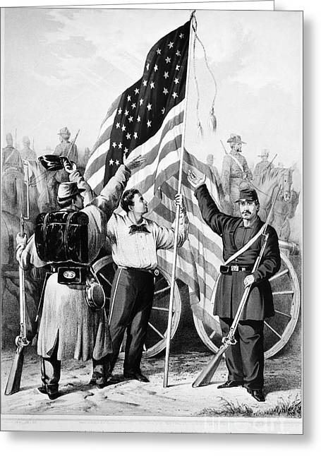 Confederate Flag Greeting Cards - Civil War: Volunteers, 1861 Greeting Card by Granger