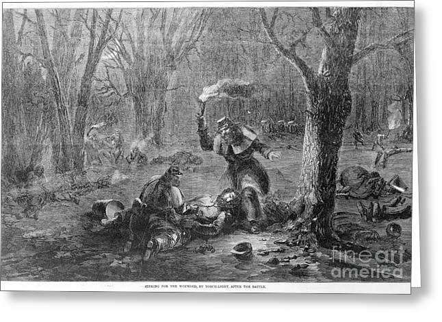 Torchlight Greeting Cards - Civil War: Wounded Greeting Card by Granger