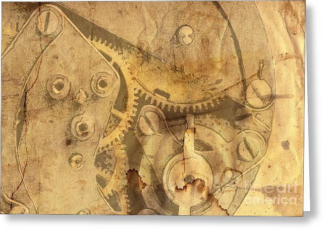 Clockwork Mechanism Greeting Card by Michal Boubin