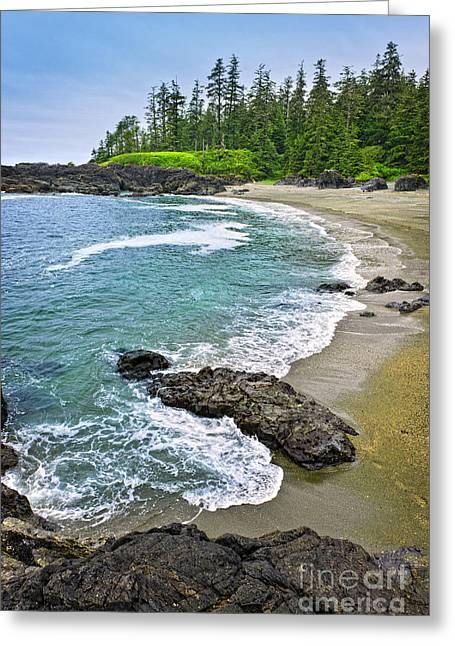 British Columbia Greeting Cards - Coast of Pacific ocean in Canada Greeting Card by Elena Elisseeva