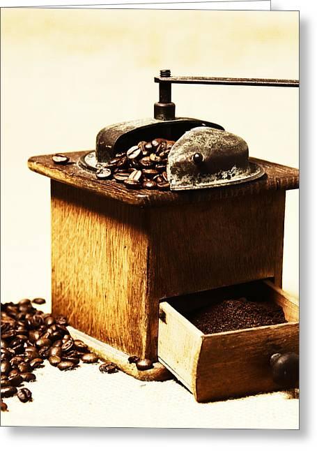 Kaffee Greeting Cards - Coffee Mill Greeting Card by Falko Follert