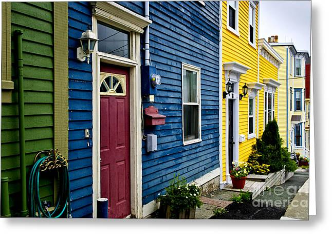 Residences Greeting Cards - Colorful houses in St. Johns Greeting Card by Elena Elisseeva