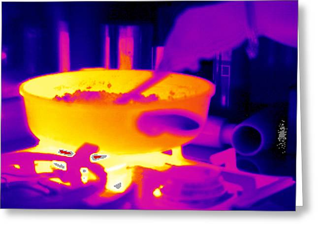 Saucepan Greeting Cards - Cooking On A Gas Stove, Thermogram Greeting Card by Tony Mcconnell