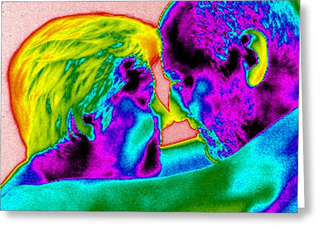 False Hug Greeting Cards - Couple Cuddling, Thermogram Greeting Card by Tony Mcconnell
