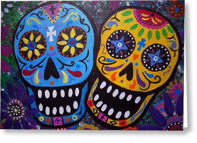 Best Sellers -  - Carter House Greeting Cards - Couple Day Of The Dead Greeting Card by Pristine Cartera Turkus