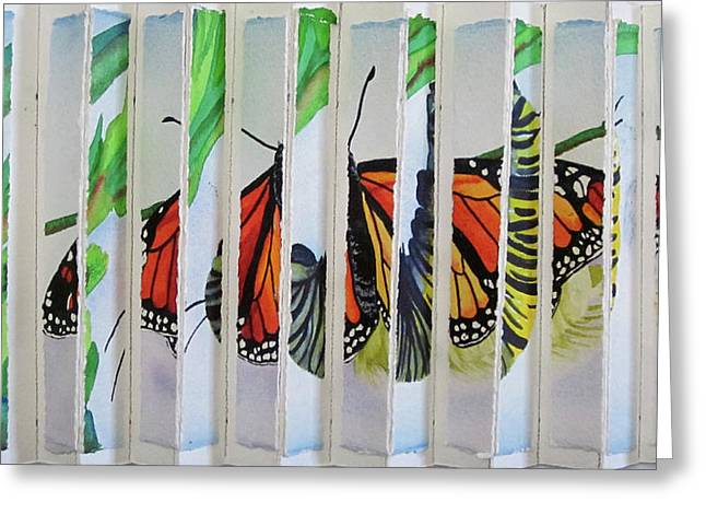 Wake Up To Life Greeting Cards - 3 D Caterpillar and Butterfly Greeting Card by Teresa Beyer